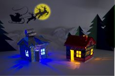 Des maisons éclairées en carton – Kit #électronique #DIY #noël