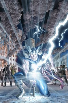 """sevenheadstencrowns: """"The Mighty Thor by Alex Ross """" Ms Marvel, Odin Marvel, Marvel Comics Art, Marvel Comic Universe, Comics Universe, Marvel Heroes, Marvel Room, Captain Marvel, Comic Book Characters"""