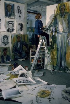 Painter Elaine de Kooning working on John F Kennedy painting in Manhattan studio, 1964, New York, NY. (Photo by Alfred Eisenstaedt, LIFE)