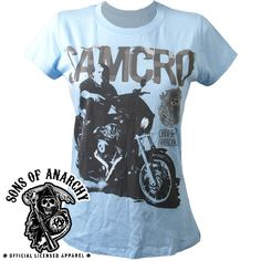 Ladies Pale Blue Sons of Anarchy Jax Short Sleeve Shirt
