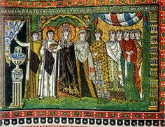 Empress Theodora and Attendants  Byzantine  tile mosaic  540-547 A.D.  http://faculty.evansville.edu/rl29/art105/img/byzantine_theodora.jpg
