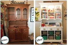 Turn an outdated hutch into a craft supply storage center                                                                                                                                                                                 More