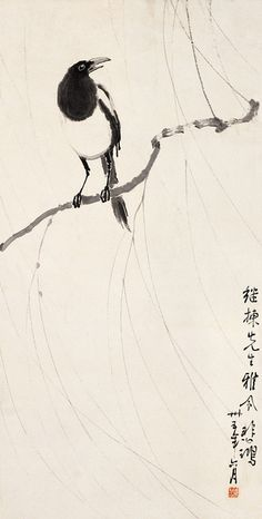 徐悲鸿 喜鹊  Painted by Xu Beihong (徐悲鴻, 1895-1953).   China Online Museum - Chinese Art Galleries
