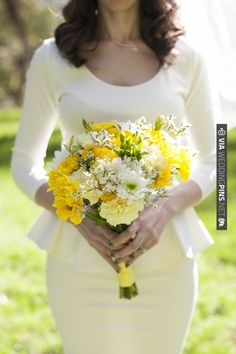A lovely yellow and white bouquet! Meo Baaklini Photography via On the Go Bride. | CHECK OUT MORE IDEAS AT WEDDINGPINS.NET | #weddings #weddingflowers #weddingbouquets #bouquets