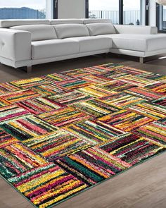 Ebern Designs Yacoubou Multi-Color Area Rug Rug Size: Rectangle x Geometric Tiles, Patchwork Patterns, Yellow Area Rugs, Rug Material, Rug Cleaning, Mold And Mildew, Online Home Decor Stores, Online Shopping, Rug Hooking