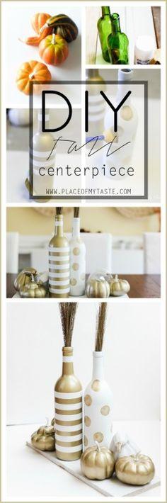 centerpiece, gold, bottle, pumpkin, DIY,