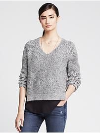 Blue Marled Vee Pullover