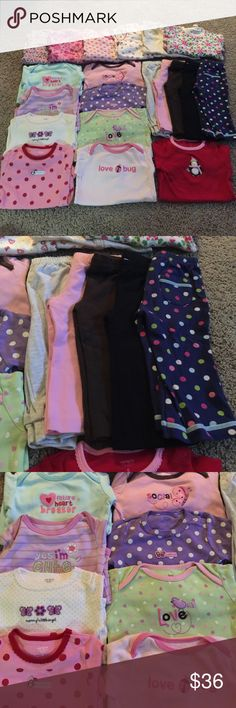 EUC Baby Girl Clothes Size 9 months EUC baby girl clothes. All size 9 months. Nine long sleeve Carter onesies, six footie long sleeve onesies (different brands), five pants. Pet and smoke free home. Free of stains. Selling as a whole. Carter's One Pieces Bodysuits