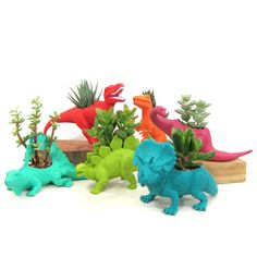 Dinosaurs 6 Pack: large dinosaur toys hand-altered to become planters