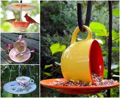 These teacup Bird feeders are easy to make and great for getting those birds to your backyard so that you can enjoy them. #Tutorial--> http://wonderfuldiy.com/wonderful-diy-beautiful-teacup-bird-feeder/ #diy #birdfeeder