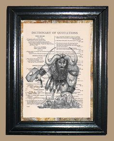Viking Warrior Illustration  Vintage Dictionary by CocoPuffsArt, $9.99