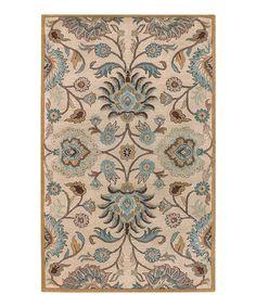 Another great find on #zulily! Beige & Light Blue Caesar Wool Rug by Surya #zulilyfinds