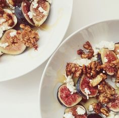 fresh figs with honey, bulgarian feta, maldon salt and cumin-cinnamon-cayenne candied walnuts
