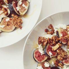 fresh figs with honey, bulgarian feta, maldon salt and cumin-cinnamon-cayenne candied walnuts