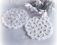 Ivory Wedding Lace Coasters in Tatting Set of Two by TataniaRosa