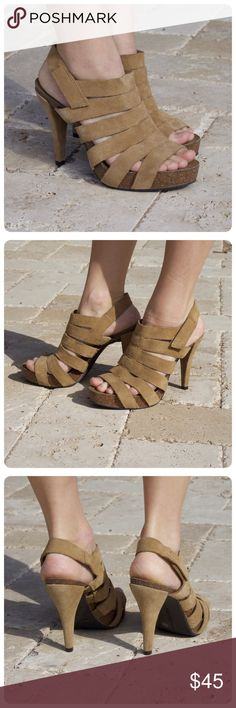 """🎉 HP 🎉 Vince Camuto Strappy Cork Platform Sandal Light brown suede Vince Camuto strappy cork platform sandal. A ladder of thick, connective straps wrap over a cork-like platform. Amazingly comfortable with a 4"""" heel. Velcro strap closure. Women's 8.5, fits TTS. EUC. First photo is not mine, all others are. Vince Camuto Shoes Heels"""