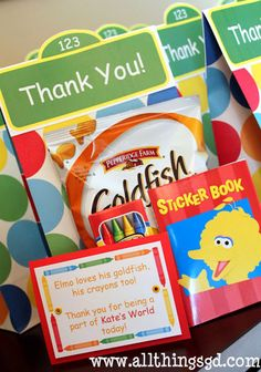 """Elmo loves his goldfish, his crayons too! Thank you for being a part of _'s world today!"""