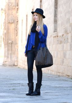 Street style inspiration: mixing Royal Blue and Black #hat