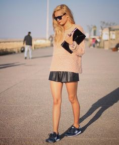Get this look (sweater, shorts, sneakers, clutch) http://kalei.do/WUWoX12CeQ2CI0mr