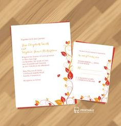 FREE PDF Wedding Downloads. Autumn Foliage Wedding Invitation And RSVP For  Customizations: Printableinvitationkits[
