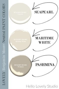 Neutral paint colors from Benjamin Moore I love - Hello Lovely Studio. cOME FIND 3 Neutral Paint Color Ideas from Southeastern Designer Showhouse 2020. #paintcolors #benjaminmoore #seapearl #pashmina #maritimewhite #whitepaintcolors #hellolovelystudio Greige Paint Colors, Neutral Paint Colors, Best Paint Colors, Interior Paint Colors, Neutral Colour Palette, Wall Paint Colors, Benjamin Moore Paint, Benjamin Moore Pashmina, Beauty Trends