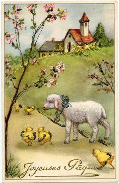 Joyeuses Pâques - vintage Easter postcard