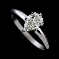 14K White Gold Pear Shape Diamond Engagement Ring on Etsy, $2,029.00