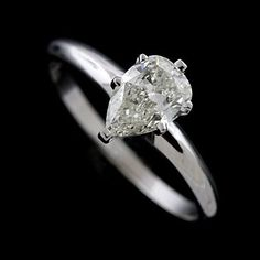 14K White Gold Pear Shape Diamond Engagement Ring on Etsy, $2,029.00