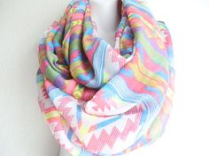 Aztec scarf White tribal scarf Bohemian loop by myfashioncreations, $22.00