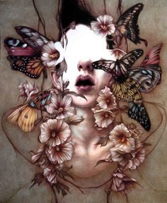 The Art of Animation, Marco Mazzoni {contemporary artist #surreal butterflies female woman portrait painting}