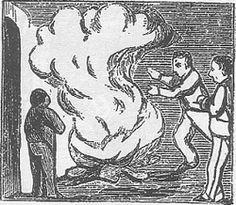 Conèixer la tradició de la festa. A la imatge, una foguera de Sant Joan segons una auca del segon terç del segle XIX.
