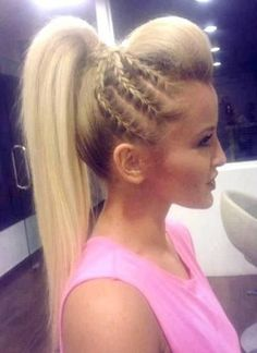 Pretty Braided Hairstyle for Summer - PoPular Haircuts Gorgeous hair braiding ideaGorgeous hair braiding idea Pretty Braided Hairstyles, Braided Ponytail, Mohawk Ponytail, Teased Ponytail, Ponytail Bump, Braided Mohawk, Braided Cheer Hair, High Ponytail With Braid, Cheer Hair Poof