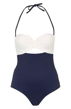 Topshop Colorblock Halter One-Piece Swimsuit
