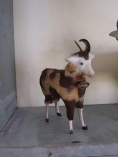 ANTIQUE PUTZ SPOTTED SHEEP RAM..GERMAN..STICK LEGS..TIN HORNS..BELL