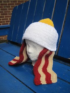 Crochet Egg Hat with Bacon Ear Flaps @ Andrea Garcia, how about these for our mud run?! Haha!!