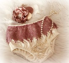 b308679c75c8 Kryssi Kouture Baby Girl and Toddler Ivory and Dusty Rose Velvet and Lace  Bummies and Diaper