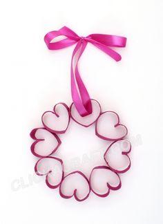 Valentine wreath from toilet paper rolls!
