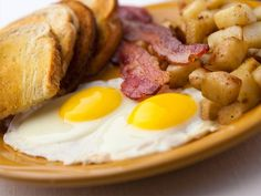 Double Down Breakfast | 2 eggs any style, 2 strips of bacon or 2 sausage links, toast and choice of hash browns or home fries.