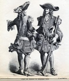 Officer and Musketeer of the French Guard  Musketeers, French Baroque Costume, 1680