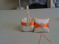Ivory with Orange Satin Flower girl basket and by sashesforlove, $29.00