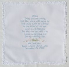 Embroidered Flower Girl Handkerchiefs by NapaEmbroidery on Etsy, $39.95