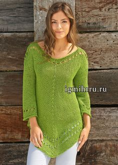Green tunic with decorative holes and openwork edge of Lana Grossa.  Knit