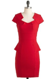 I want this dress!!!  Perfect red dress with peplum and cap sleeve!  Sheath's Got the Look Dress - Red, Solid, Work, Vintage Inspired, Peplum, Cap Sleeves, Mid-length, Party, Pinup