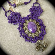 One of a Kind Tatted Necklace Dark Purple and Brass by TotusMel