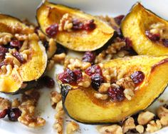 Roasted Acorn Squash with Walnuts and Cranberries sub brown sugar for maple syrup