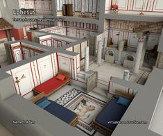 Virtual Reconstruction of the residential unit 3 of the Terrace houses in Ephesus, Turkey Roman Architecture, Classic Architecture, Historical Architecture, Ancient Architecture, Ancient Roman Houses, Ancient Rome, Ancient History, Greek Pantheon, Mega Mansions