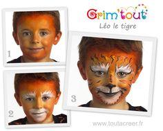 Léo le tigre , un maquillage enfant réalisé avec les produits Grim'tout, maquillage à l'eau sans paraben ni parfum, idéal pour les peaux délicates des enfants