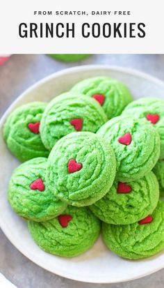 Inspired by Dr. Suess's The Grinch Who Stole Christmas, these dairy free Grinch cookies are a simple, colorful way to get your kids into the holiday spirit. #dairyfree #christmascookies Christmas Cookies Grinch, Grinch Cookies, Easter Cookies, Christmas Treats, Christmas Baking, Christmas Recipes, Holiday Cookies, Holiday Recipes, Christmas Holiday