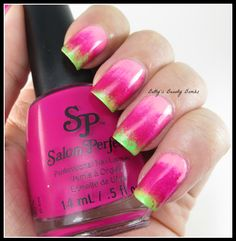 http://www.bettysbeautybombs.com/2014/07/22/salon-perfect-gradient-tri-polish-tuesday/ / Gradient nail art using Salon Perfect Neon Pop Collection Shades!