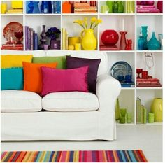 "Netral colour for Sofa and table. But shocking colour for my ""pernak-pernik"""